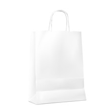 Blank Paper Shopping Bag Mockup Isolated On White Background. Vector Illustration. Ready To Use For Your Design, Advertising, Branding, Promo And Etc. EPS10.