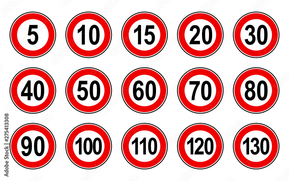 Fototapeta Vector high quality flat style collection set of generic speed limit signs with black number and red circle - usable for metaphor communication in business field