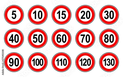 Vector high quality flat style collection set of generic speed limit signs with Tableau sur Toile
