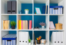 White Office Shelves With Diff...