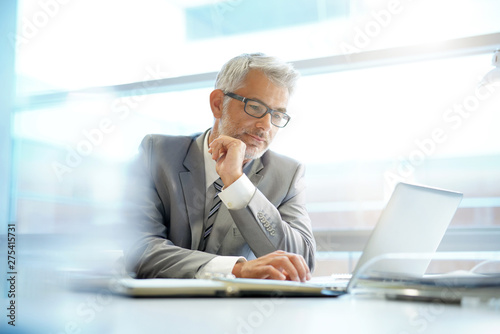 Stylish businessman working at desk in contemporary office