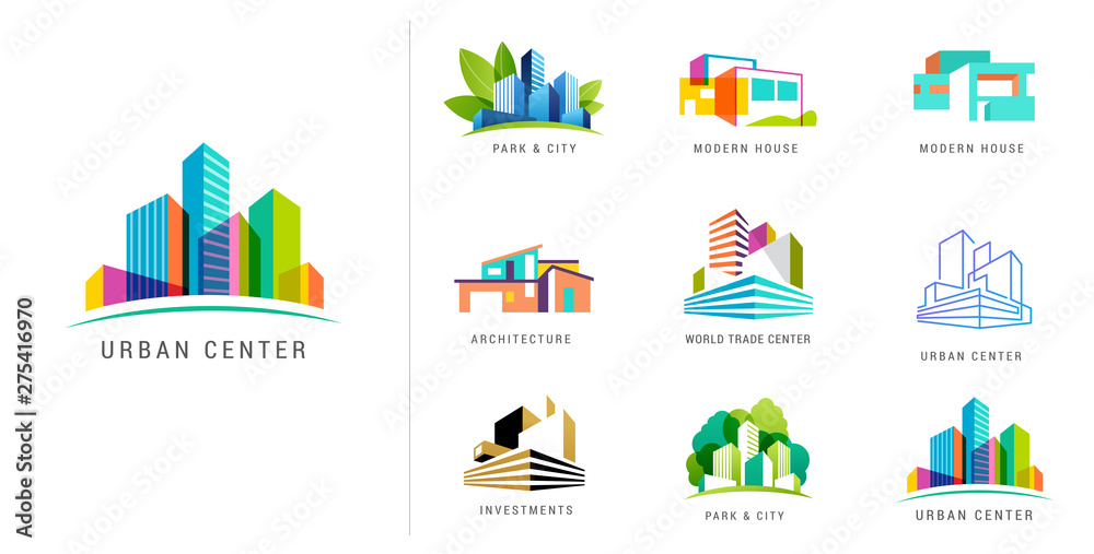 Fototapety, obrazy: Real estate logo, building development, set of logos, icons and elements