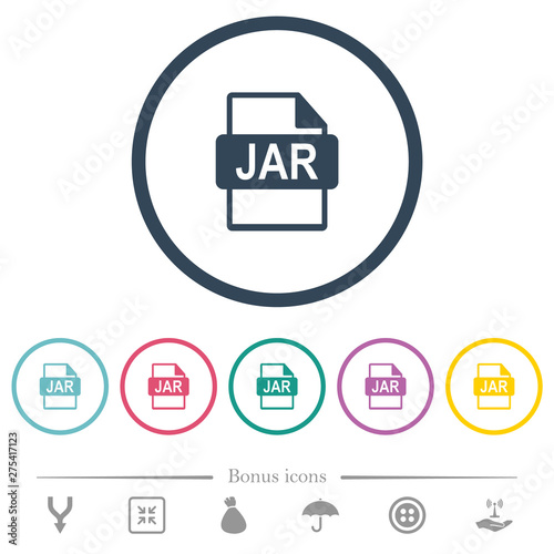 JAR file format flat color icons in round outlines Wallpaper Mural