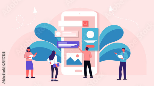 Modern Flat Design Concept Of Mobile App Design User Interface Development Concept Small People Building Website With Blocks In The Browser Window Creative Ui Ux Design Vector Illustration Buy This Stock