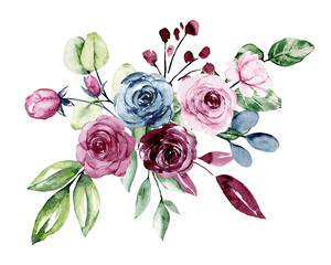 FototapetaFlowers, watercolor roses. Bouquet for wedding invitation, greeting card, poster, flyer, banner design. Floral blossom watercolor painting isolated on white.