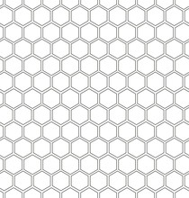 Hexagon Honeycomb Seamless Background. Geometric Outline Simple Texture. Vector Illustration.