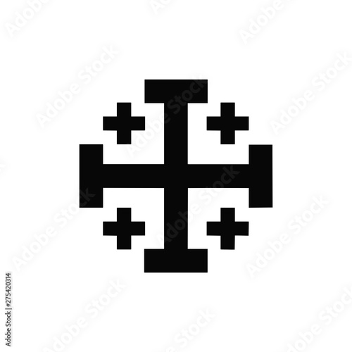 Door stickers Pixel Vector high quality icon of the catholic crusareds style cross - black logo isolated on white background. Religion and faith vector editable icon