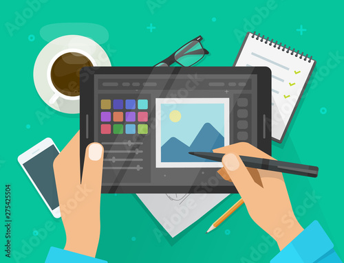 Photo or graphic editor on tablet vector illustration, flat cartoon graphics tablet screen with design or image editing software or program on workplace desktop table image Wall mural