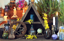 Witch Altar With Pentagram, Spring Flowers, Black Candles.