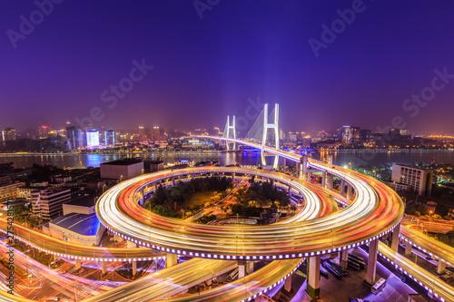 Foto auf AluDibond Shanghai beautiful nanpu bridge at night,crosses huangpu river,shanghai,China