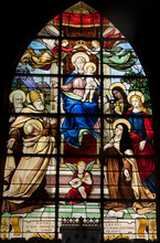 France, 4th Arrondissement Of Paris, Stained Glass Window With Madonna And Child At The Church Of Saint-Merri