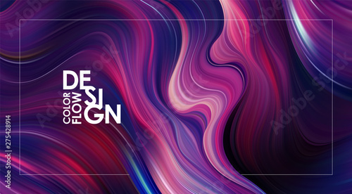 Obraz Abstract colorful flow background. Wave color Liquid shape. Trendy design. - fototapety do salonu