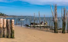 France, Gironde, Arcachon Bay, Cap Ferret, Oyster Parks At L'Herbe Oyster Village