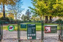 France, Paris, 1st Arrondissement, Ile De La Cite, Signs On The Gate Of The Square Vert Galant