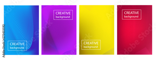 Fototapety, obrazy: Colorful gradient cover design with abstract lines and geometric pattern.