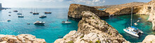 Panorama Of Blue Lagoon Natural Harbour With Yachts On Island Comino, Malta