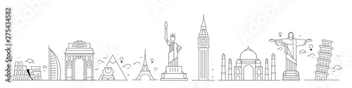 Obraz na plátně Travel the world monument concept - Vector Flat Line Art Design.