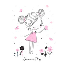 Little Girl With Butterflies And Flowers. Doodle Drawing Vector Illustration.