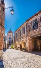 France, Tarn-et-Garonne, Auvillar, Place De La Halle And Tour De L'Horloge (Most Beautiful Village In France) Saint James Way
