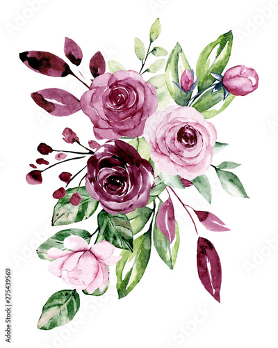 Fototapety, obrazy: Watercolor roses, flower bouquet. Floral vintage illustration with flowers for greeting cards, wedding invitations, and other printing projects. Isolated on white background.