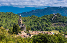 France, Drome, The Provencal Baronnies Regional Natural Park, Pierrelongue, Rocky Peak Restructured In The 19th Century To Recieve The Church Notre Dame De La Consolation