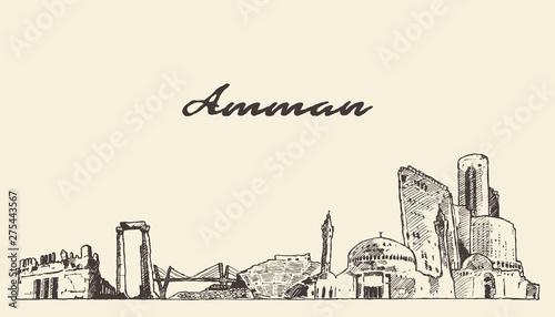 Amman skyline Jordan hand drawn vector sketch Canvas Print