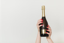 Party And Holiday Celebration Concept. Champagne Bottle On Blue Background.