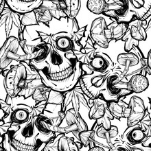 Vector Illustration.Halloween.Skull,mushrooms,leaves.Handmade,prints On T-shirts, Background White.tattoos,seamless Pattern