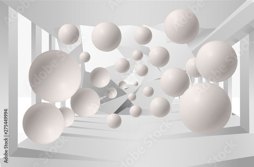 Illustration of 3D crystall ball silhouettes of dandelions pattern on decorative silver background 3D wallpaper and tunnel