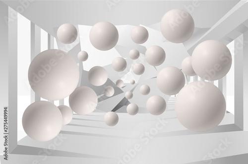 Ilustracja 3D kryształowej kuli sylwetki dandelions deseniuje na dekoracyjnej srebnej tła 3D tapecie i tunelu