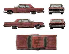 Set Of 3d-renders Of Old Rusty Retro Car