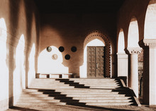 Door In Colonnade Of Arches Wi...