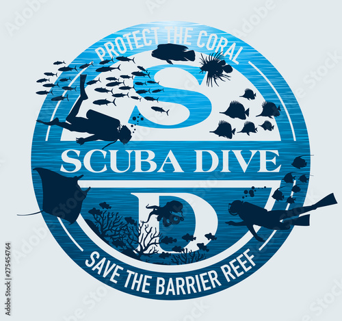 Scuba dive protect coral reef vector print for t shirt sticker label wallpaper Wall mural