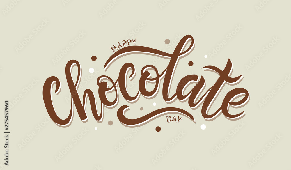 Fototapety, obrazy: Happy chocolate day postcard or banner. Hand sketched Happy Choc