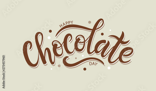 Fotografía  Happy chocolate day postcard or banner. Hand sketched Happy Choc