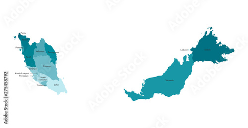 Canvas Print Vector isolated illustration of simplified administrative map of Malaysia