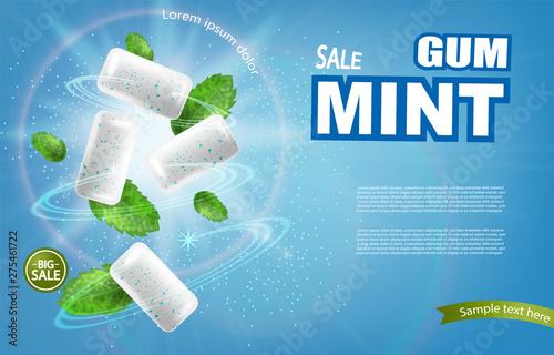 Fotografiet Mint chewing gum Vector realistic