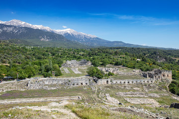 Fototapeta na wymiar Tlos is an ancient ruined Lycian hilltop citadel near the resort town of Fethiye in the Mugla Province of southern Turkey