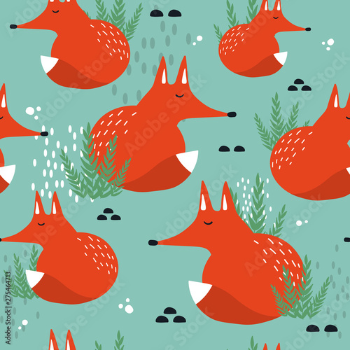 Foxes and plants, hand drawn backdrop. Colorful seamless pattern with animals. Decorative cute wallpaper, good for printing. Overlapping background vector. Design illustration
