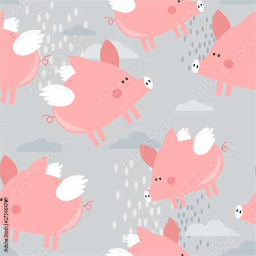 Happy pigs with wings, hand drawn backdrop. Colorful seamless pattern with animals, clouds. Decorative cute wallpaper, good for printing. Overlapping background vector. Design illustration