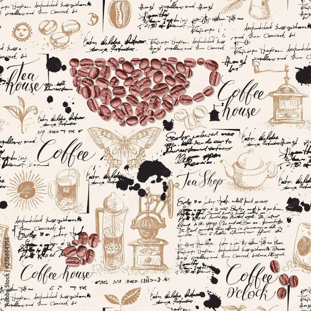 Vector seamless pattern on tea and coffee theme in retro style. Various coffee and tea sketches, blots and inscriptions on a background of old manuscript. Can be used as wallpaper or wrapping paper