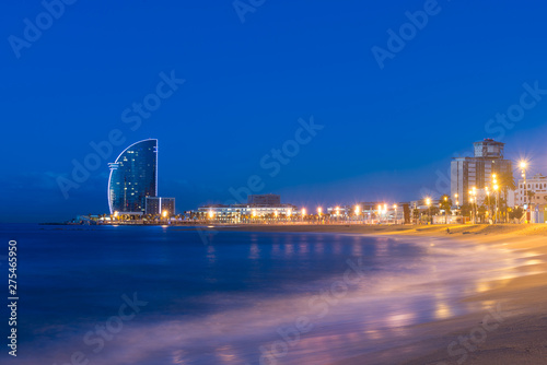 Foto auf Leinwand Barcelona Barcelona Beach in summer night along seaside in Barcelona, Spain. Mediterranean Sea in Spain.