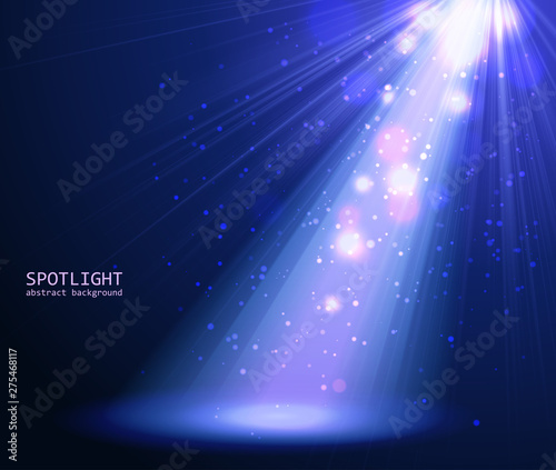 Fotobehang Licht, schaduw Abstract blue spotlight background.