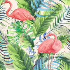 Obraz na SzkleHand drawn watercolor seamless pattern with pink flamingo, banana leaves and exotic plants. Repeat background illustration