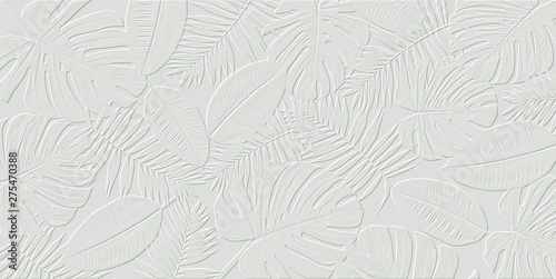 Stampa su Tela  Horizontal artwork composition of trendy tropical green leaves - monstera, palm and ficus elastica isolated on white background (computer rendered)