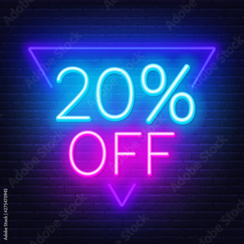 Cuadros en Lienzo  20 percent off neon lettering on brick wall background