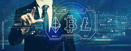 Poster Individuel Cryptocurrency - Bitcoin, Ethereum, Litecoin with businessman on a dark blue background