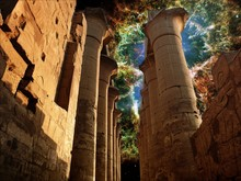 Colonnade In The Luxor Temple And The Crab Nebula (Elements Of This Image Furnished By NASA)