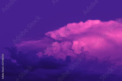 Poster Violet Sunset sky with clouds