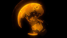 Digital Yellow Planet Of Earth. Globe With Shining Continents. 3D Illustration With Digital Earth And Particles